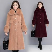 2018 Winter Wool Coat Women's plus size hooded fox fur Thick Warm Fur Coats Skirt type Hem jacket overcoat S~3XL