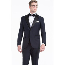 wedding tuxedo dark blue groom suit slim fit with black collar for 2017 custom made suit men wear