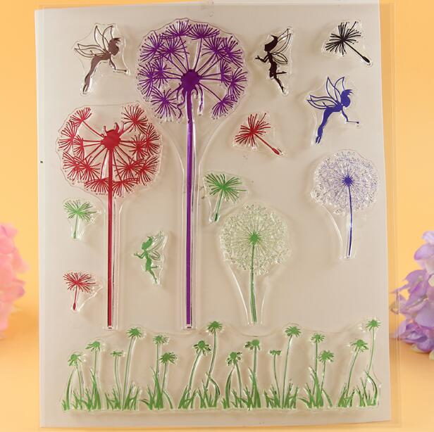 Scrapbook DIY Photo Album Card Rubber Chapter Transparent Seal Dandelion Fairy Clear Stamp 212 scrapbook diy photo album card hand account rubber seal product seal transparent seal stamp cat