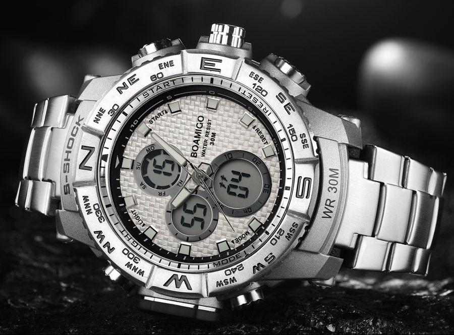 BOAMIGO Fashion Sport Man Watches Stainless Steel LED Digital Watch Analog Quartz Movement Waterproof Dual Display Wristwatches (9)