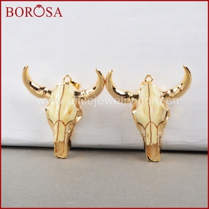 Image 4 - BOROSA buffalo Kopf perle, Gold Farbe Bull Charm Bead Longhorn Harz Horn Vieh Anhänger für Schmuck Zubehör G0842