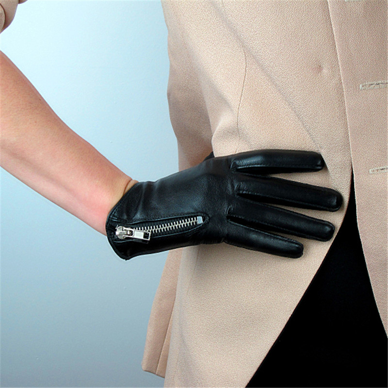 Genuine Leather Pure Sheepskin Short Style Black With Zipper European Version Of The Cut French Elegant Women's Gloves TB76