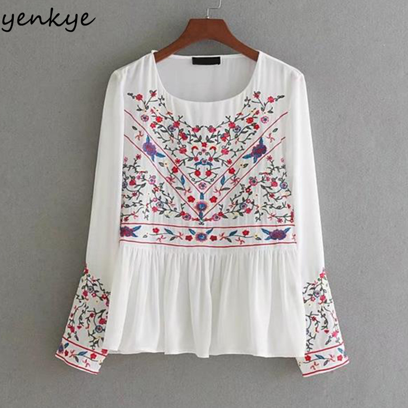 Fashion Vintage Floral Embroidery Blouses Long Sleeve O Neck Peplum Top Autumn White Women Blouse Shirts Tops Brand Bluas