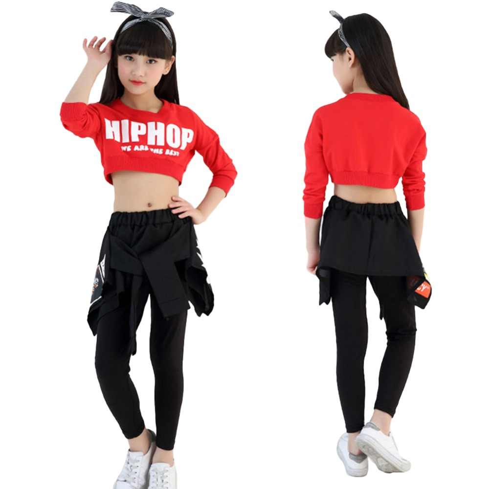 d9f2eb0006dc ... Kids Girls Hip-hop Clothing Sets Crop Top + Skirt Legging Jazz Dance  Wear Age ...