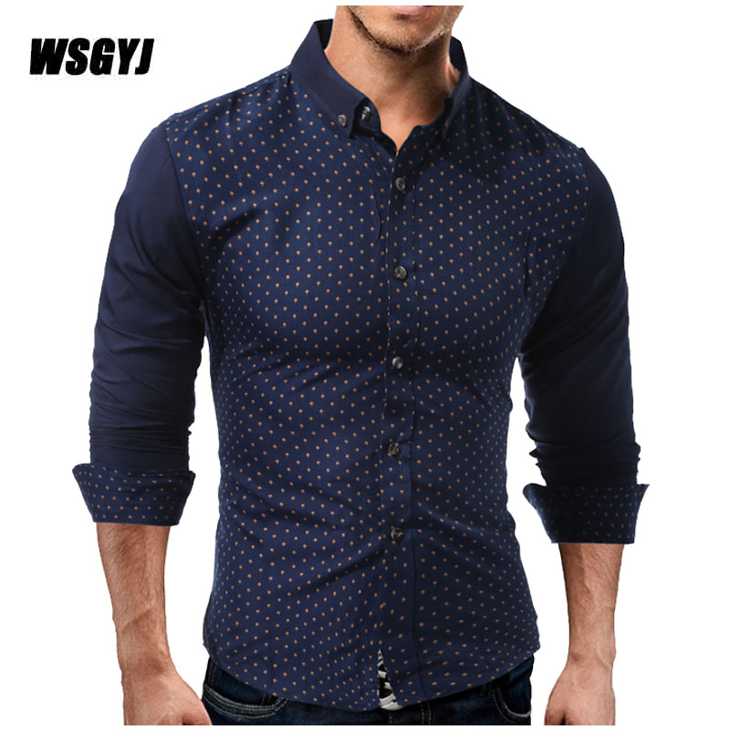 Camisa Masculina 2017 New Fashion Casual Wave Point Men Shirt Long Sleeve Slim Fit Shirt Men Mens Dress Shirts Men Clothes XXL