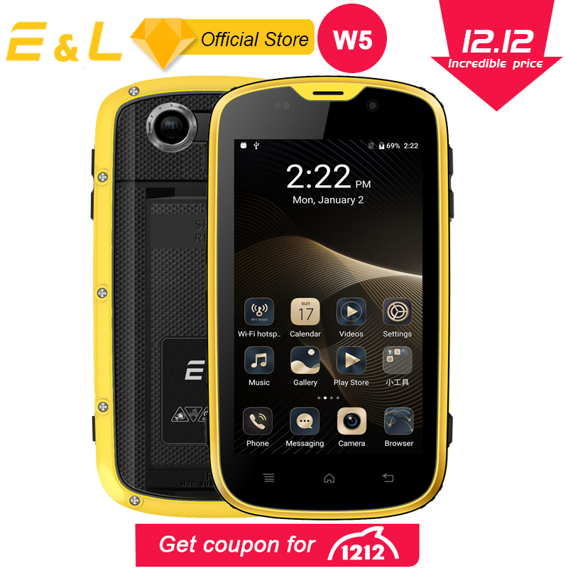 E & L W5 teléfono móvil Android teléfonos originales impermeable a prueba de golpes a prueba teléfono Quad Core teléfono táctil Smartphone 4G desbloqueado los teléfonos móviles