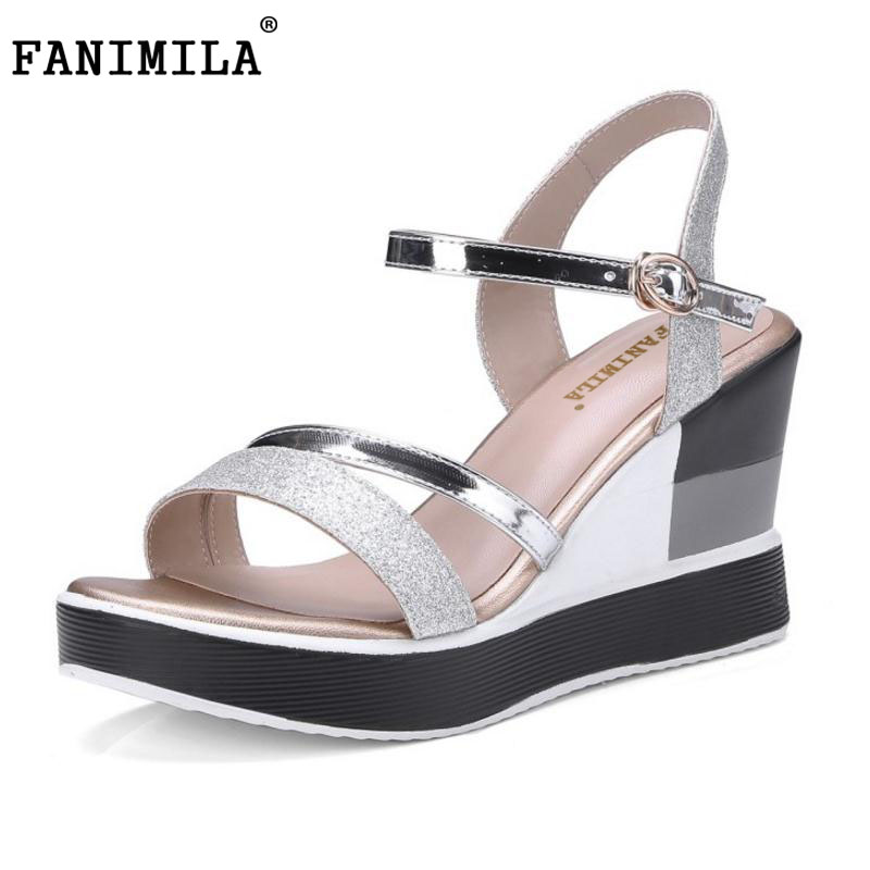 FANIMILA Size 34-43 Wedges Women High Heel Sandals Platform Open Toe Buckle Strap Beach Vacation Summer Shoes Women Footwears plus size 34 44 summer shoes woman platform sandals women rhinestone casual open toe gladiator wedges women zapatos mujer shoes