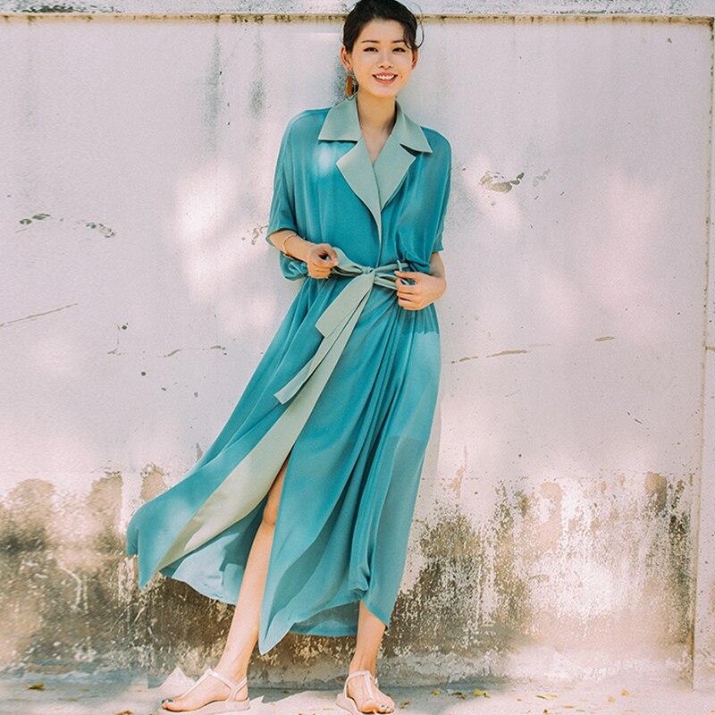 a6f3670580f VERRAGEE Brand Maxi Shirt Dress Women Summer Dress 2018 Chiffon Short  Sleeve Loose Vintage Green Blue Dress Shirt Long With Belt
