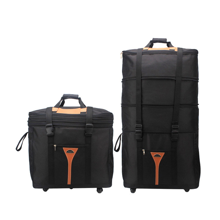 Large Capacity 75L Travel Box Men and Women Folding Luggage Bags Air Shipping Package Trolley Bag Cart