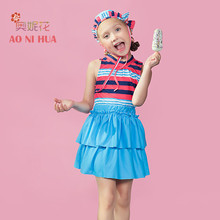AONIHUA Girls kids Swimsuit 2018 Striped Print Two piece Top with skirt Quickly Dry Sleeveless swimwear Children bathing suit