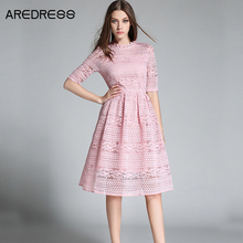 Lace Embroidery Women 2016 Summer Crochet Pink/Red/Black Evening Party Bodycon Elegant Dress european style Clothing