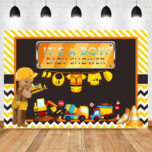 NeoBack Construction Baby Shower Backdrop Its a Boy Background Yellow Trucks and Diggers Photography