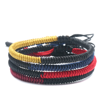 Handmade Bracelet Buddhist Two Colors Braid Together Knots Good Lucky Rope Bracelet Unisex Size Adjustable Jewelry 1413 buddhist rope bracelet