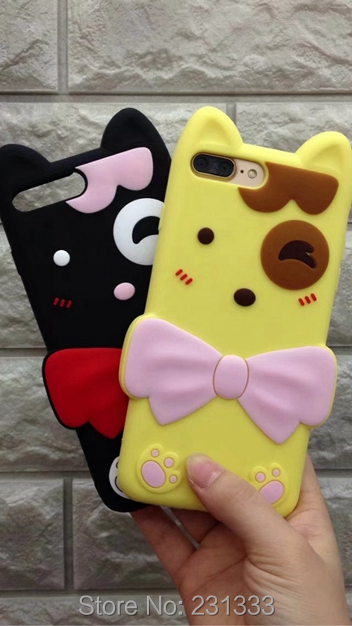 For Iphone 7 PLUS 7PLUS I7 3D Cartoon Soft Silicone GEL Case Ice Cream Hello Kitty Teddy Bear Cute Rabbit Duck Skin Cover 50pcs