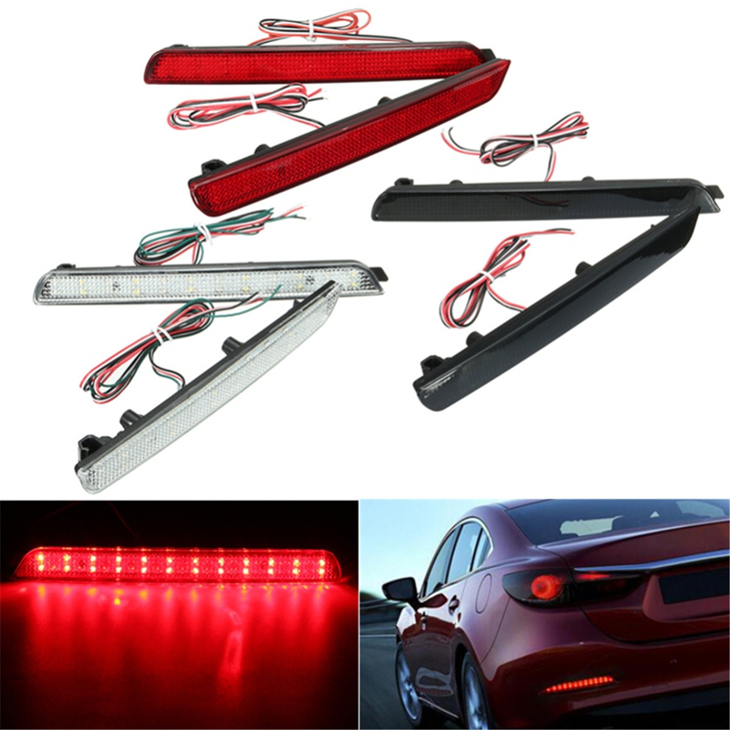 2x 24LED Rear Bumper Reflectors Tail Brake Stop Running Turning Light For Mazda 3 04-09 Parking Warning Night Driving Fog Lamp
