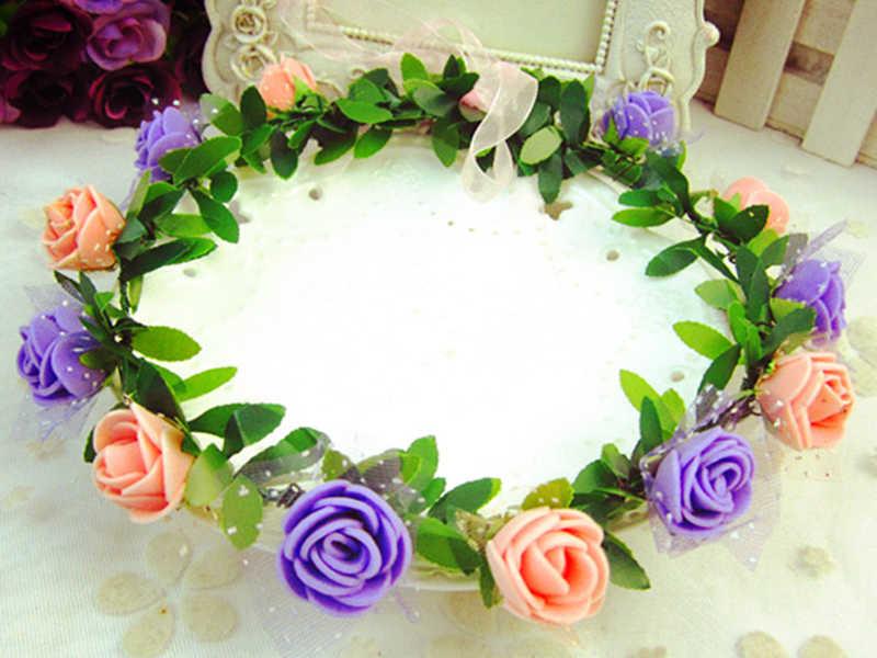 2019 Роза гвоздики Пион цветок Halo Свадебная Цветочная Корона венок для головы мятный Свадебный веночек головной убор подружки невесты