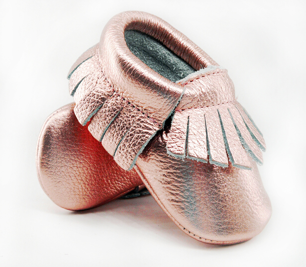 16color New Shine Pink Genuine Leather Baby moccasins First Walkers Soft Rose gold Baby girl shoes infant Fringe Shoes 0-30month
