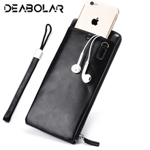Men's Pure Genuine Slim Long section Wallets Men Luxury zipper Clutch Bag Male ID Money Purses Brand Design Card Holder
