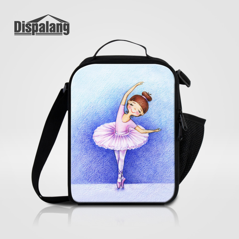 Dispalang Ballet Girl Print Kids Cooler Lunch Bag Portable Insulated Thermal Food Picnic Bags Women Small Lunch Box Tote