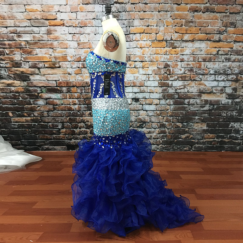 Lorie Modest Prom Dress Beaded Crystals Mermaid Royal Blue African Evening Dresses Organza Transparent Long Graduation Dresses Without Return Prom Dresses