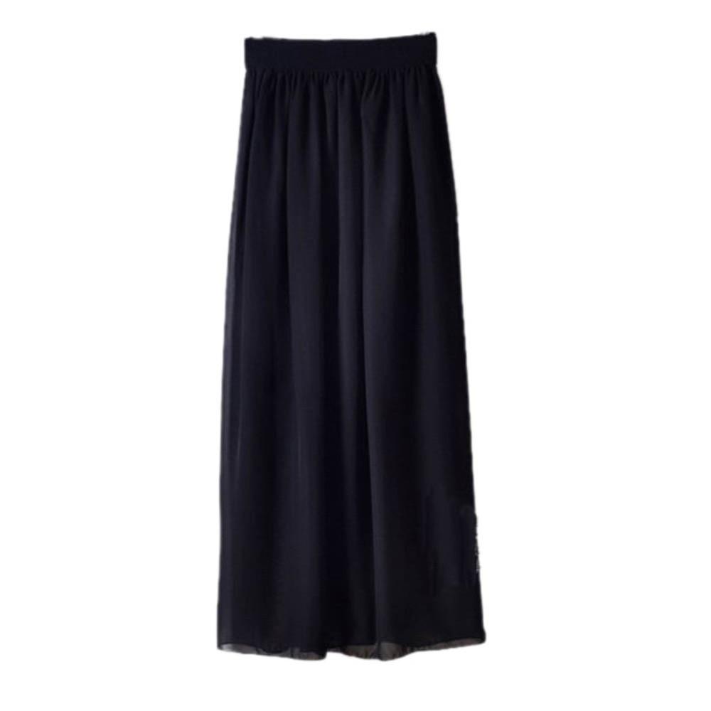 New Summer Women Double Layer Pleated Chiffon Elastic High Waist Long Maxi Skirt
