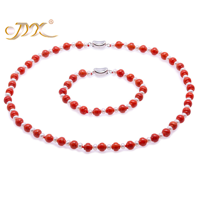 JYX Delicate 7mm Carved Red Coral and White Pearl Necklace Bracelet Set Gifts for women delicate faux pearl hollow out ball shape necklace for women
