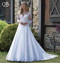 Custom Size Vestido de Noiva 2019 New Wedding Dresses A-line Long Sleeve Pearls Appliques Lace Satin Formal Elegant BS01
