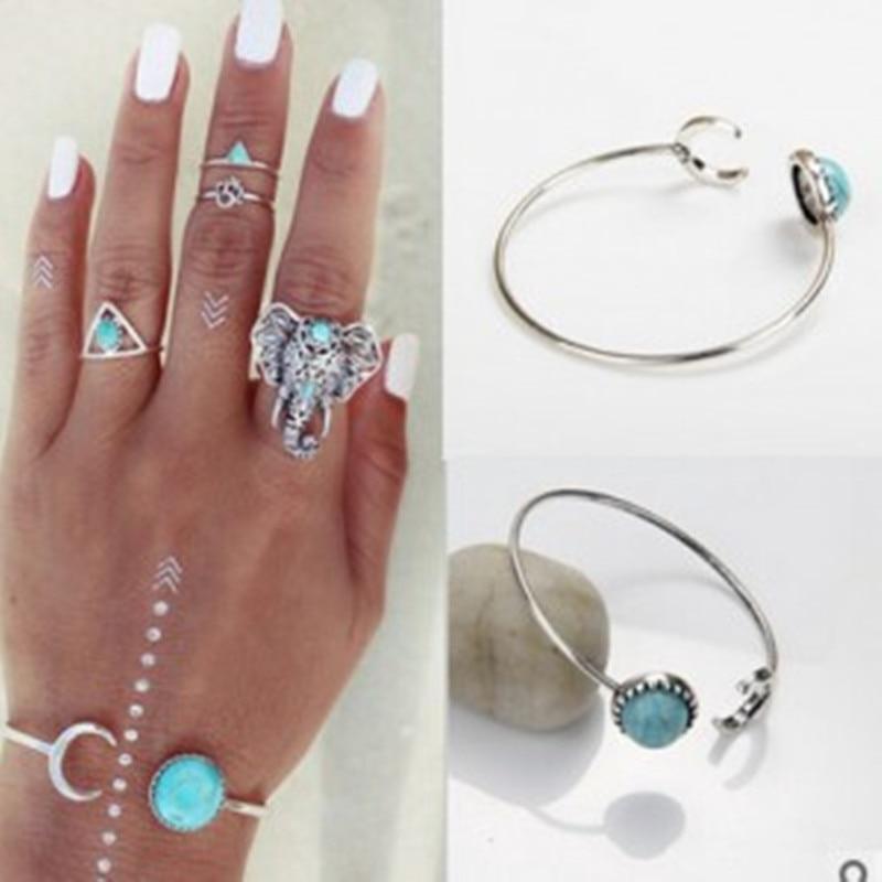L J Original Design Moon Bracelet Jewelry Fashion Exquisite Green Stone Adjustable Cuff Bangles For Women