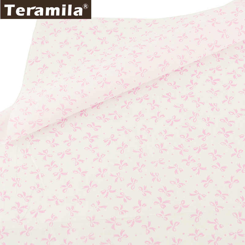 Teramila 100% Cotton Fabric Pink Bowknot Designs Quilting Patchwork Textile Scrapbooking DIY For Beginner Tissue Dolls Tela