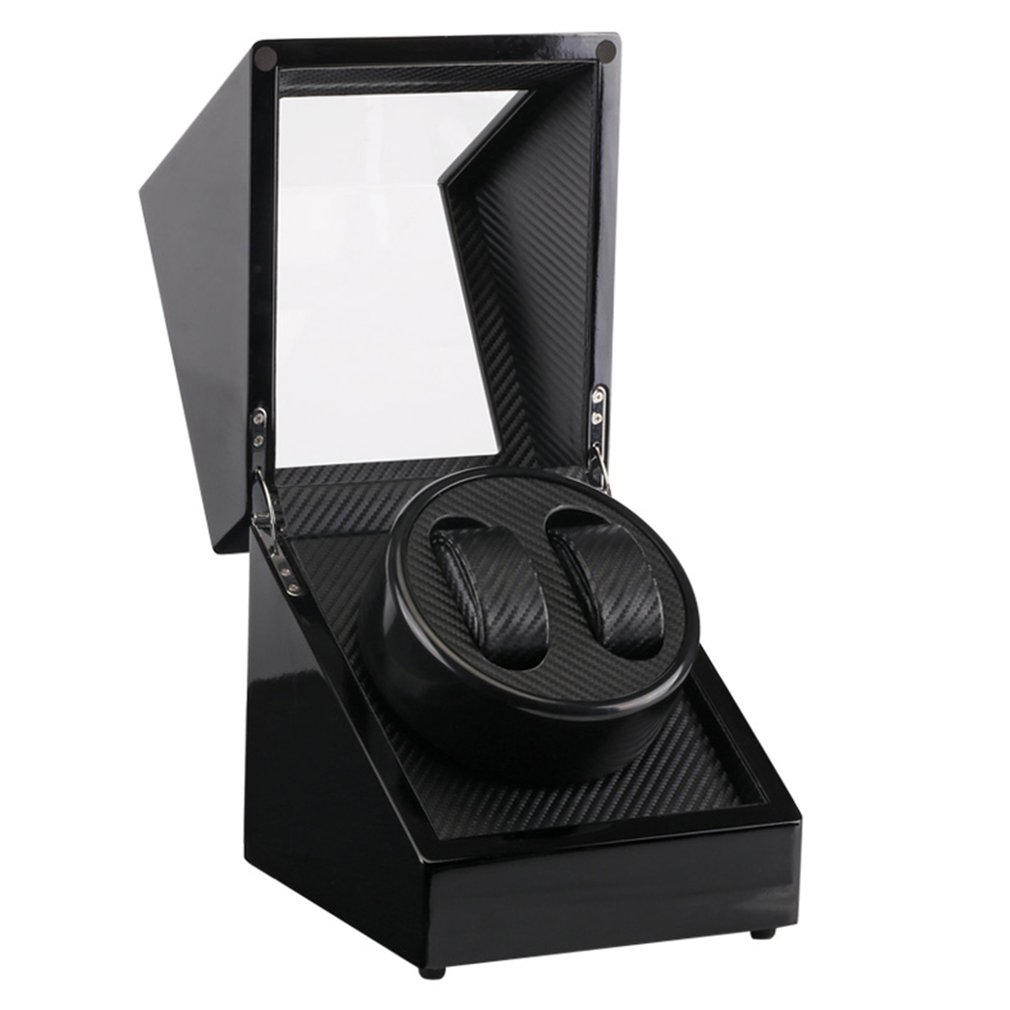 US Plug bois laque Piano noir brillant Fiber de carbone Double montre enrouleur boîte silencieux moteur stockage vitrine pour montres nouveau