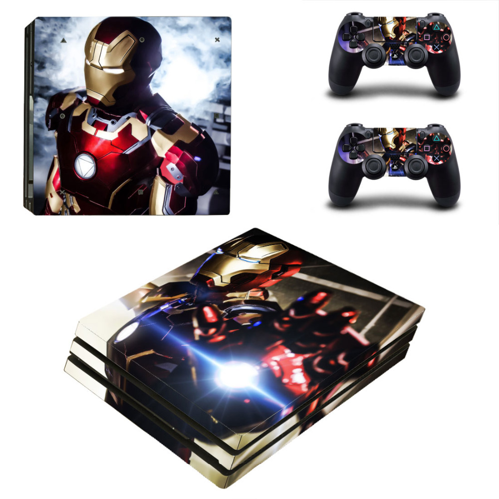 New For PS4 Pro Skin Sticker For Sony Playstation 4 Pro Console and 2Pcs Controller Skins Iron man free shipping