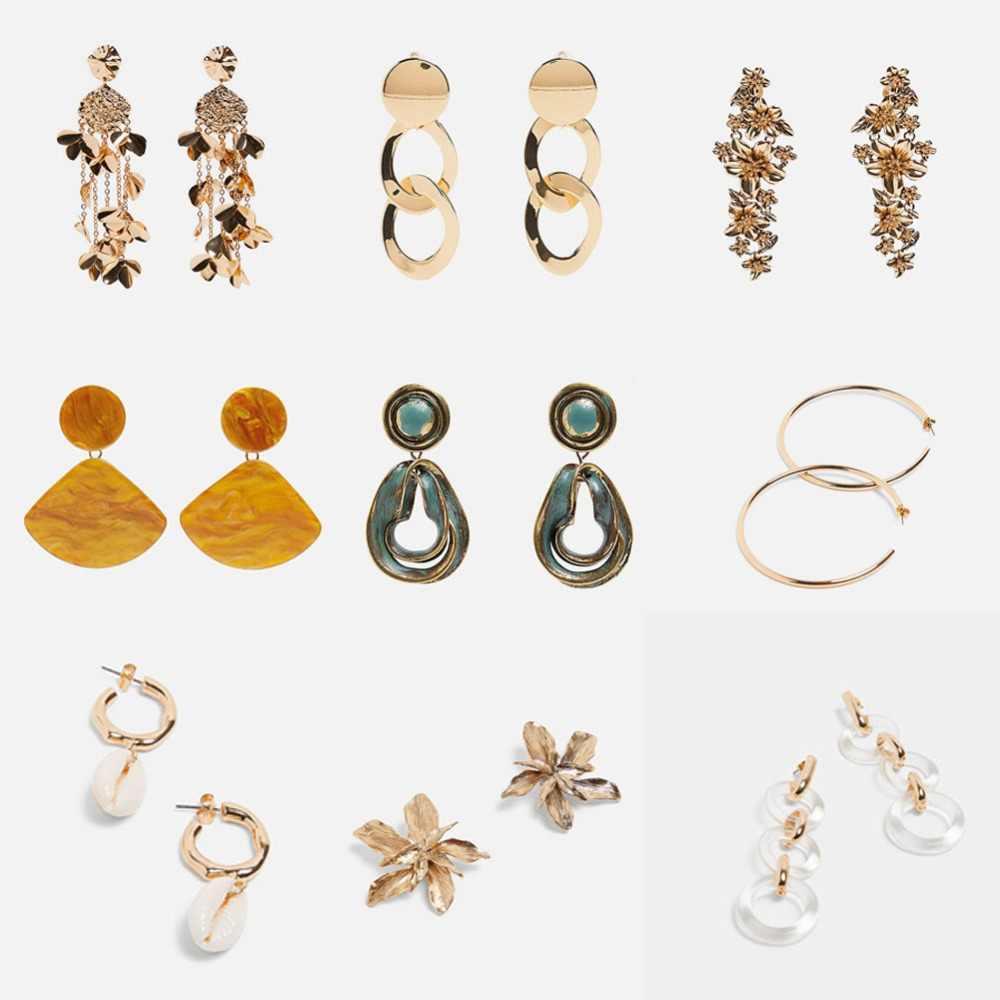 8121bc9f7e0ef Girlgo 2019 New ZA Earrings For Women Style 12 Designs Fashion Metal  Hanging Drop Earrings Wedding Geometric Handmade Bijoux
