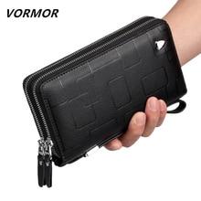 VORMOR Luxury Brand 100% Genuine Leather Cowhide Portomonee Fashion  Male Wallet Men Long Clutch with Coin Purse Pocket Rfid