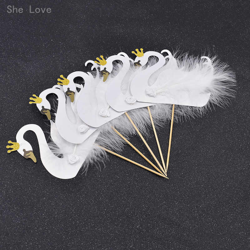 She Love 5pcs Cupcake Topper Picks Swan Crown Feather Wedding Party Cake Decoration Supplies