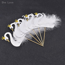 Chzimade 5pcs Cupcake Topper Picks Swan Crown Feather Wedding Party Cake Decoration Supplies