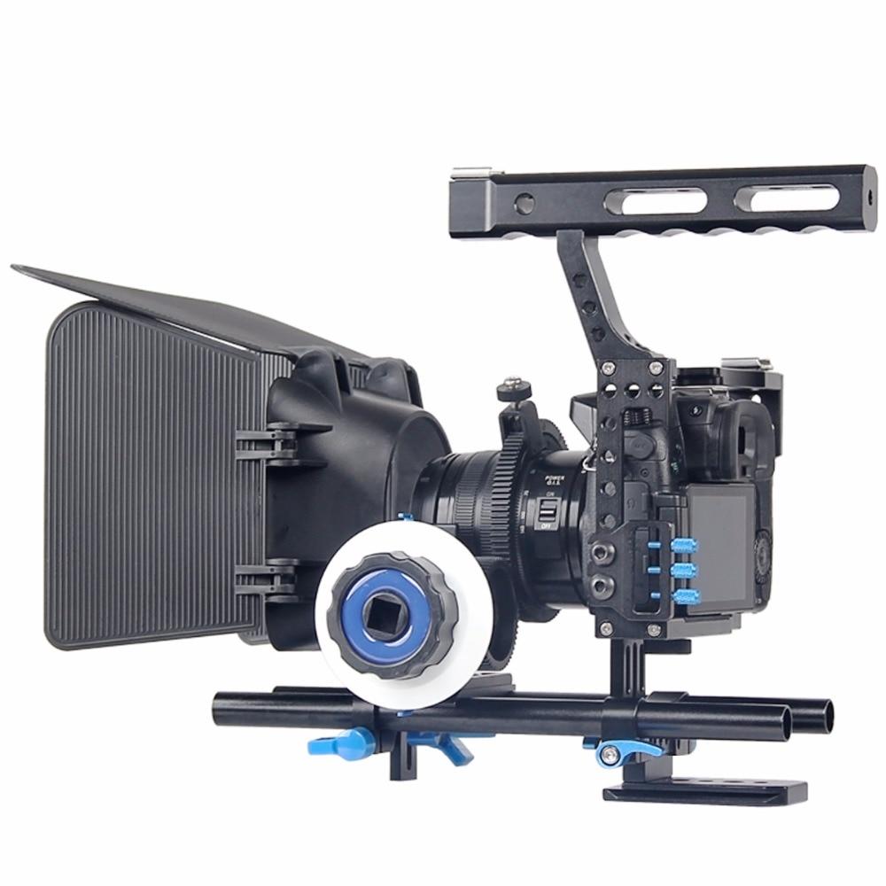 DSLR Vidéo Film Stabilisateur Kit 15mm Rod Rig Caméra Cage + Poignée Grip + Follow Focus + Matte Box pour pour Sony A7 II A6300/GH4
