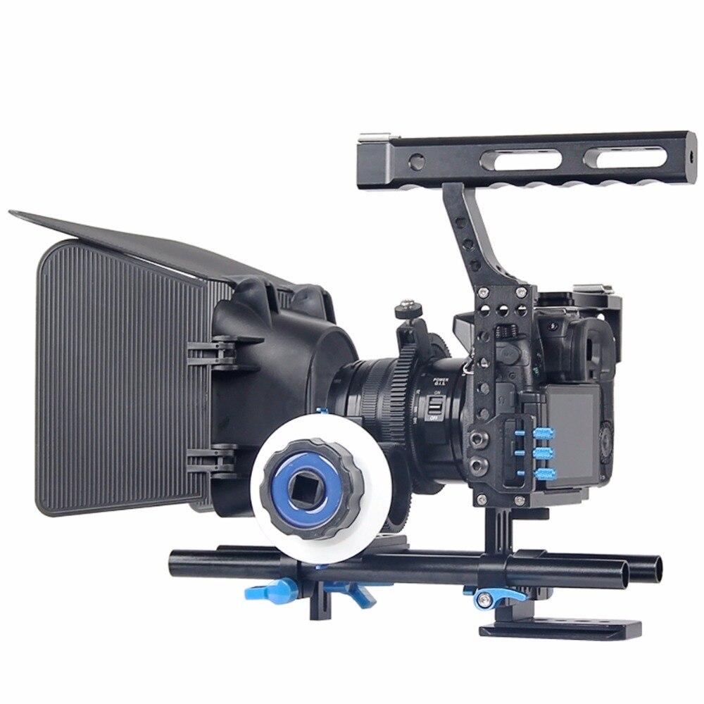 DSLR Video Film Stabilizzatore Kit 15mm Rod Rig Camera Cage + Maniglia Grip + Segue Il Fuoco + Matte Box per per Sony A7 II A6300/GH4