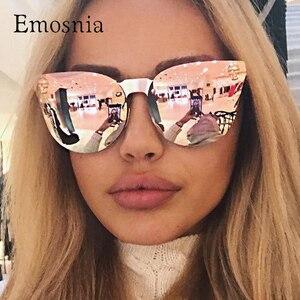 Emosnia Pink Sunglasses Rose Gold Skull Oversize Sunglasses Women Brand Designer Big Frame Sun Glasses For Female Ladies Eyewear(China)