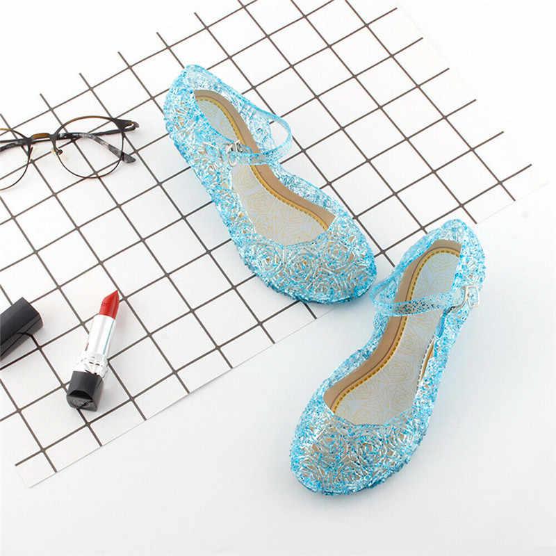 2019 yeni moda bebek kız çocuklar yaz kristal sandalet dondurulmuş prenses yürümeye başlayan sevimli l fantezi kristal jöle yüksek topuklu ayakkabılar