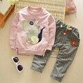 Outono Inverno das Crianças Baratos roupa do bebê set meninos Meninas atender Crianças roupas dinossauro dos desenhos animados manga comprida com capuz + calça