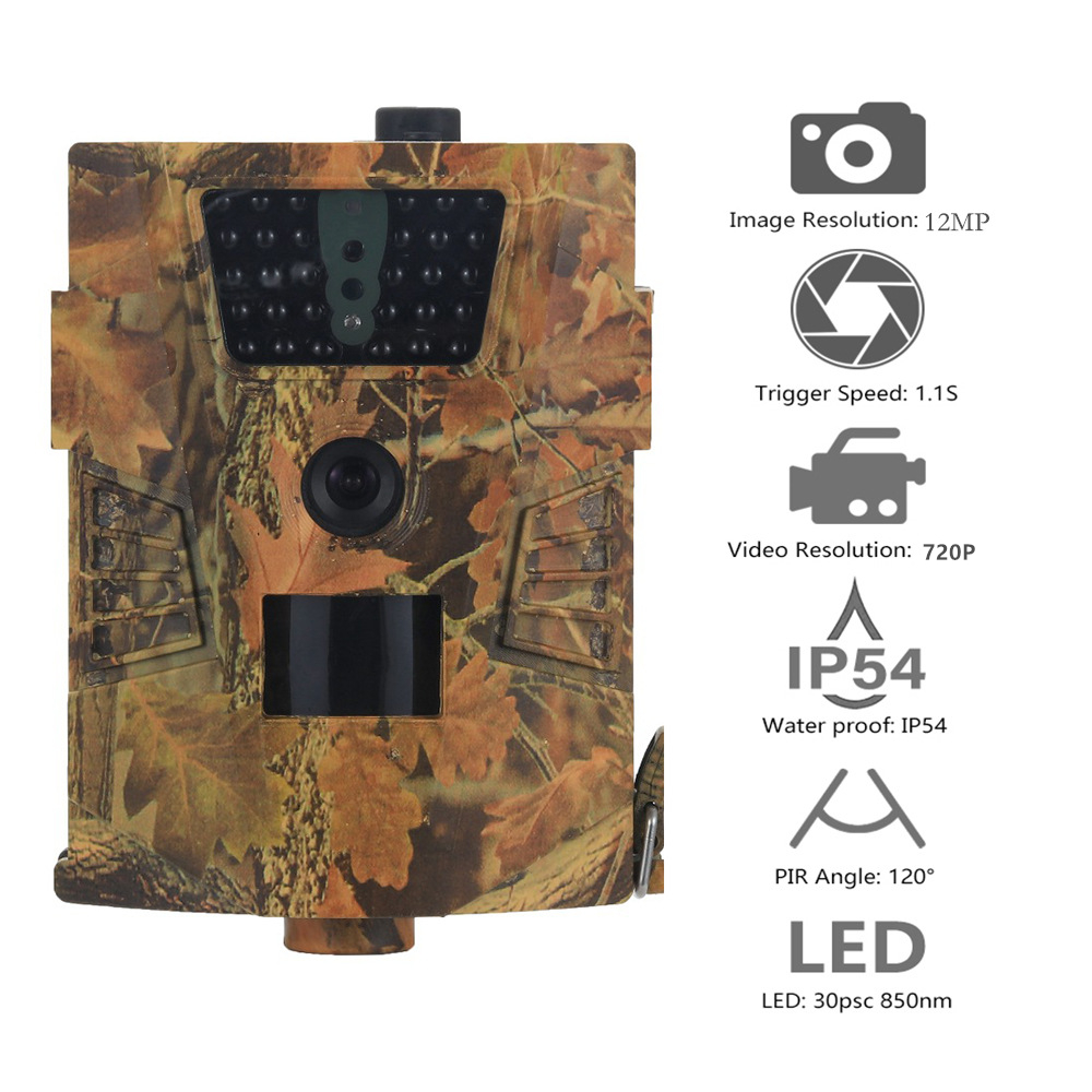Goujxcy HT 001B Trail Camera 30pcs 850nm Infrared Leds Hunting Camera Scout Waterproof 120 Degree Camera photo traps Wild Camera-in Hunting Cameras from Sports & Entertainment