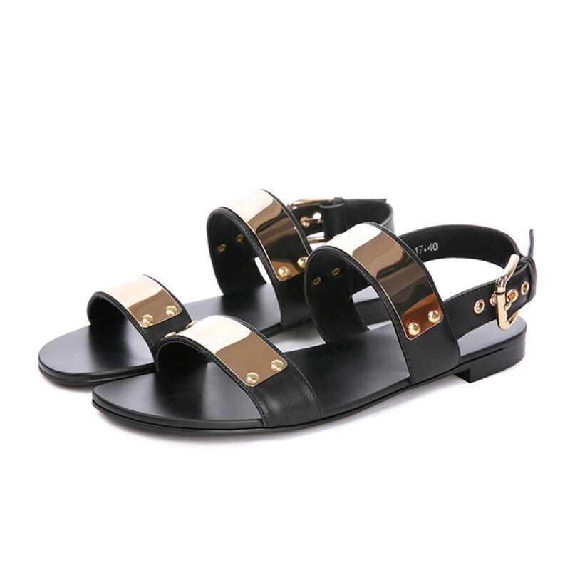 US 6 12 45 Men Genuine Leather Metal Flat Thongs Roman Rivet Gladiator Summer Beach Sandals Punk Slides Shoes-in Men's Sandals from Shoes    3