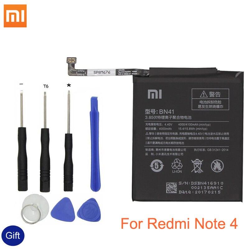 Xiao mi BN41 batería del teléfono para Xiaomi rojo mi Hong mi nota 4/nota 4X MTK Helio X20 4000 mAh reemplazo Original de la batería + herramienta