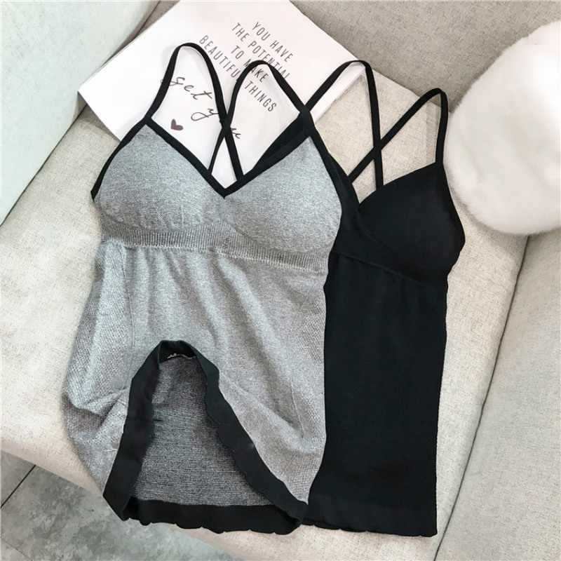 Sexy Crop Top V-neck Camisole Women Knitted Padded Underwear Bralette Top Female Shirt Ladies Tank Tops