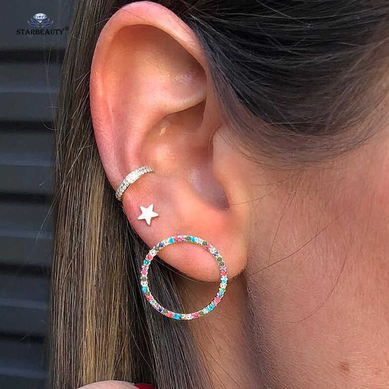 Only 1 Set Star Leaf X Cross Moon Heart Bijoux Earrings Set Cute Ear Piercing Helix Piercing Tragus Fake Nose Ring Pircing Oreja