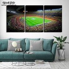 Холст Картина Испания Барселона Спорт Футбол 3 шт. стены книги по искусству живопись модульная обои плакат HD печати украшения дома