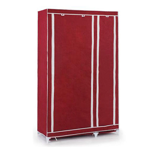 Foldable double canvas wardrobe storage cupboard shelves red wine
