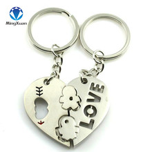 MINGXUAN 1Pair Couple Keychain Key hearts Boy/Girl Loves Key Chain Souvenirs Valentine's Day gift C415