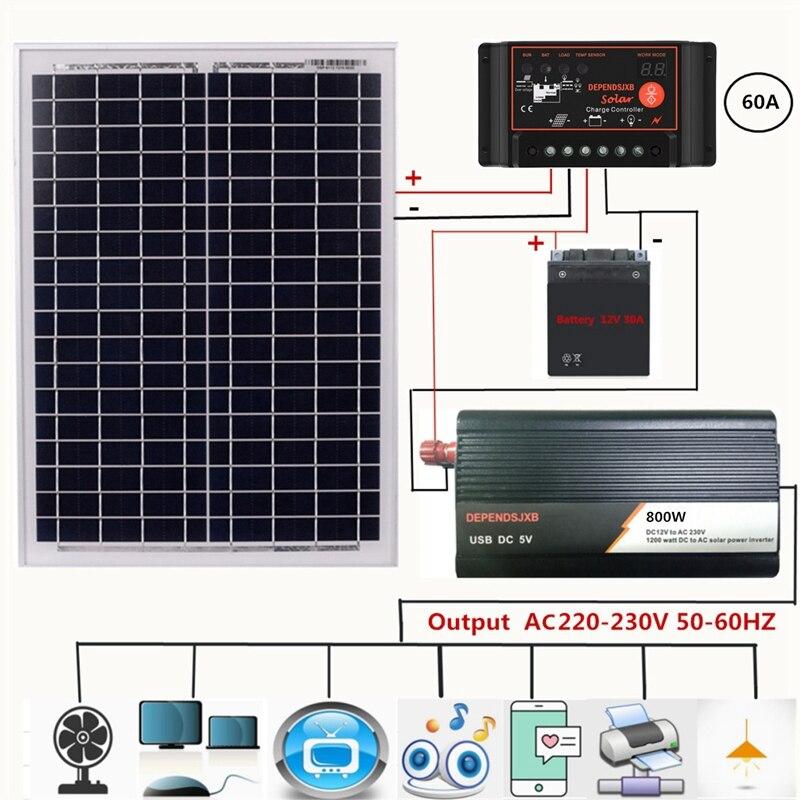 18V20W Solar Panel +12V Controller + 800W Inverter Dc12V-Ac230V Solar Power Generation Kit, For Outdoor And Home