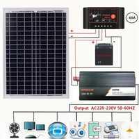 Adw 18v20w quente painel solar + 12 v controlador 800 w inversor Dc12V-Ac230V kit geração de energia solar, para ao ar livre e casa